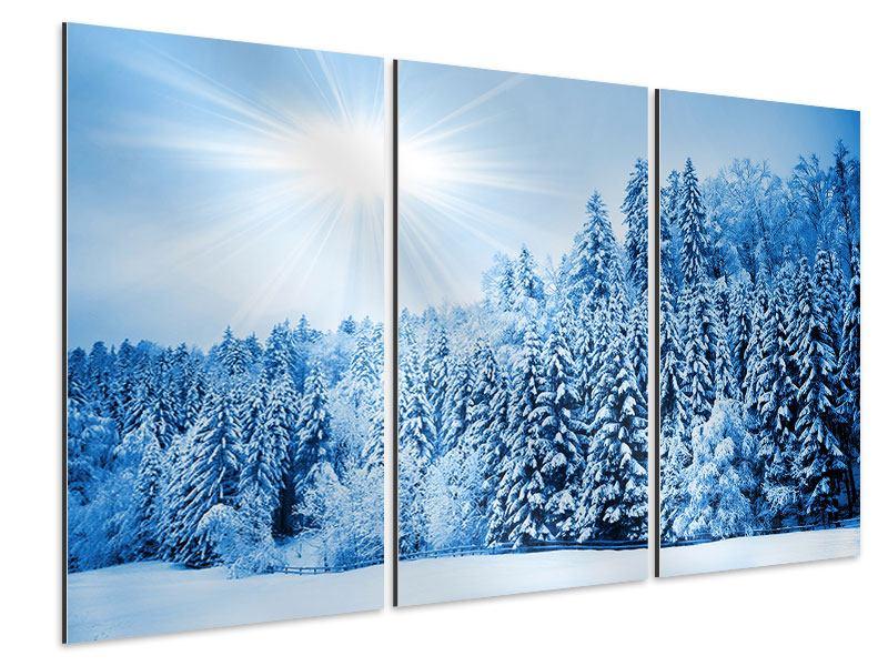 Aluminiumbild 3-teilig Wintermärchen