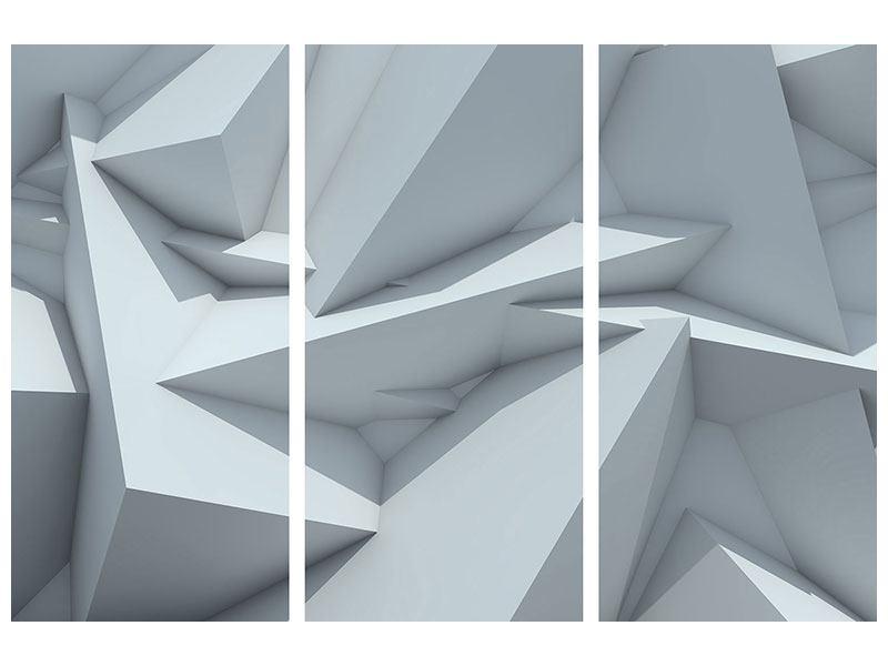 Aluminiumbild 3-teilig 3D-Kristallo