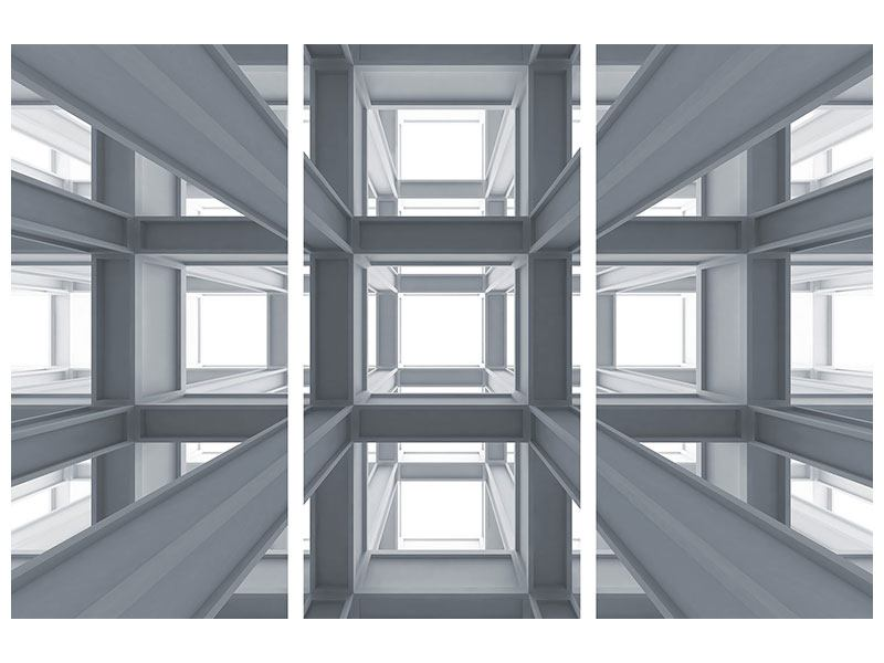 Aluminiumbild 3-teilig Räume