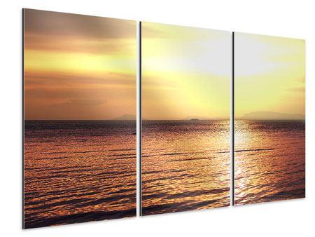 Aluminiumbild 3-teilig Sonnenuntergang an der See