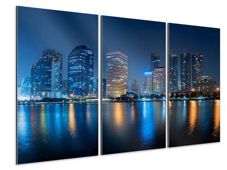 Aluminiumbild 3-teilig Skyline Bangkok bei Nacht