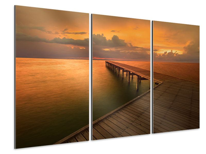 Aluminiumbild 3-teilig Der Steg am Meer