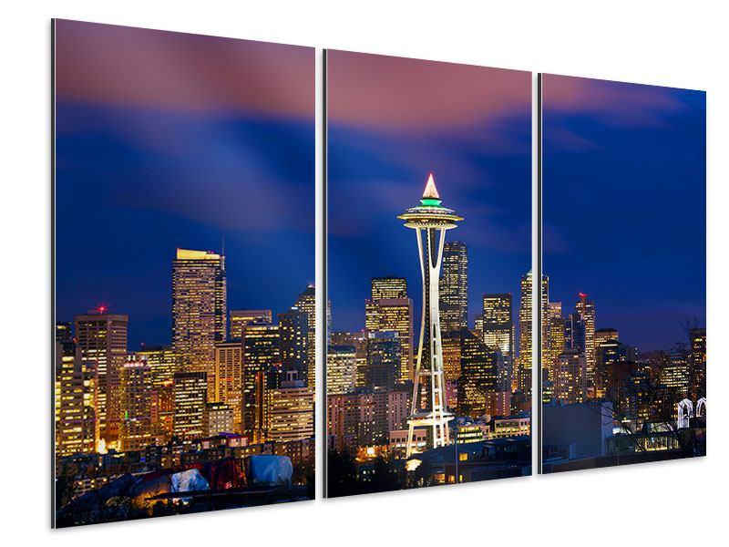 Aluminiumbild 3-teilig Skyline Seattle