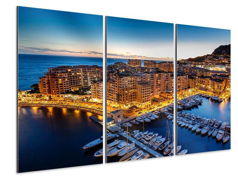 Aluminiumbild 3-teilig Monaco