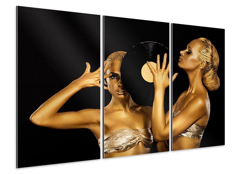 Aluminiumbild 3-teilig Gold-DJ`s
