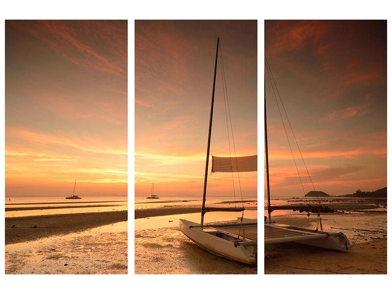 Aluminiumbild 3-teilig Sonnenuntergang am Strand