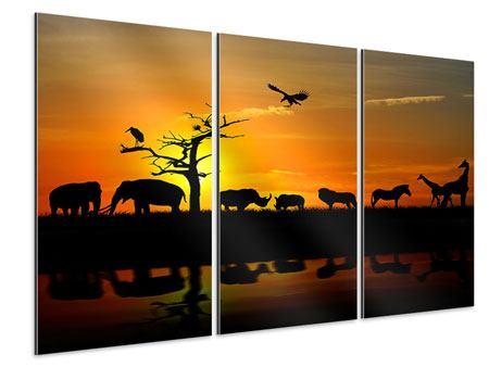 Aluminiumbild 3-teilig Safarietiere bei Sonnenuntergang