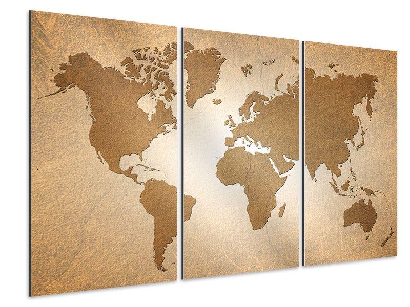 Aluminiumbild 3-teilig Karte der Welt in Vintage