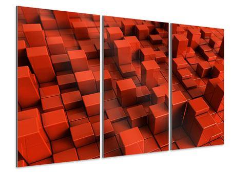 Aluminiumbild 3-teilig 3D-Rechtkant