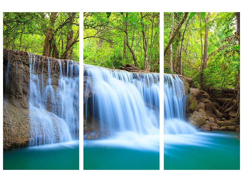 Aluminiumbild 3-teilig Wasserfall Si Nakharin