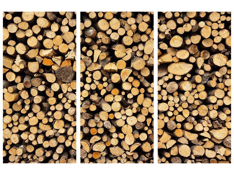 Aluminiumbild 3-teilig Brennholz