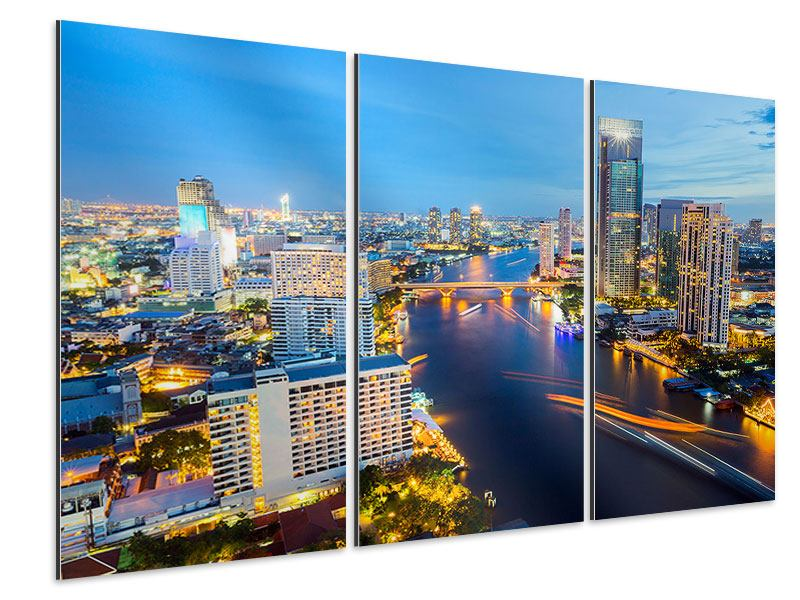 Aluminiumbild 3-teilig Skyline Bangkok bei Sonnenuntergang