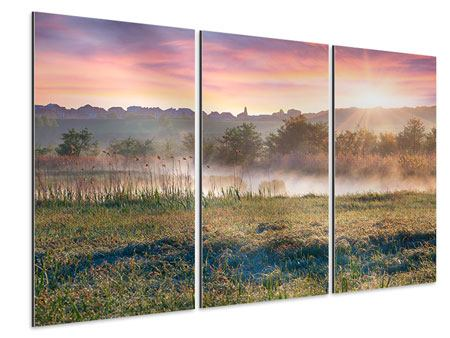 Aluminiumbild 3-teilig Sonnenuntergang am Hügel