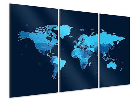 Aluminiumbild 3-teilig Weltkarte