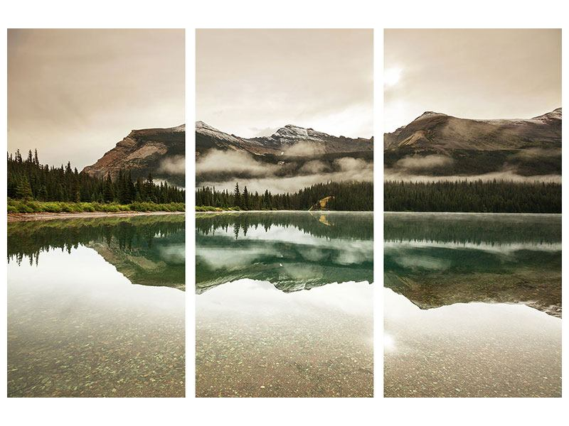 Aluminiumbild 3-teilig Spiegelung im Glacier Nationalpark