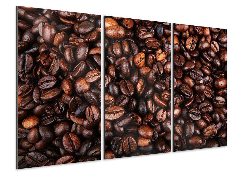 Aluminiumbild 3-teilig Kaffeebohnen in XXL