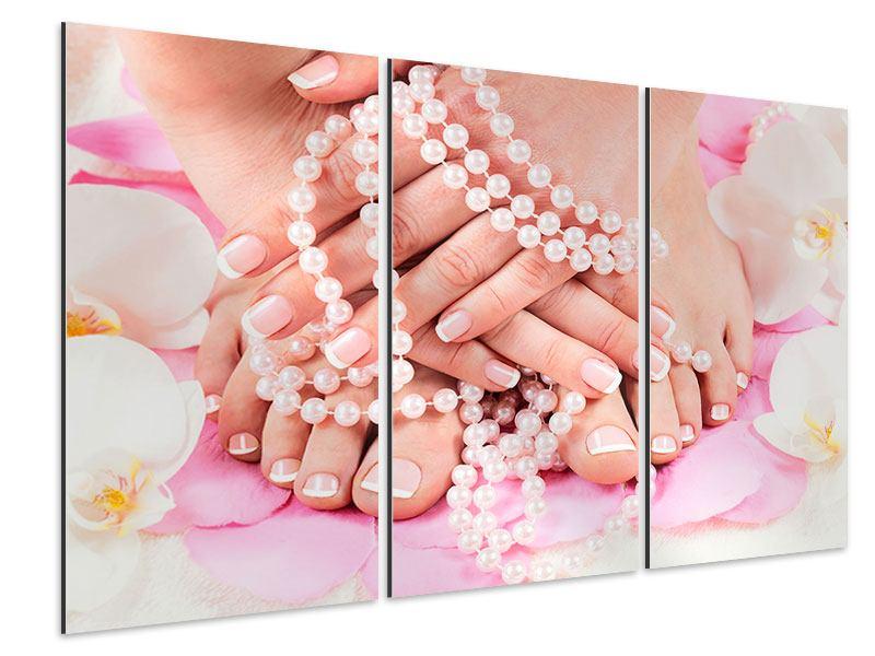 Aluminiumbild 3-teilig Hände und Füsse