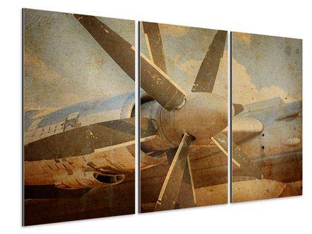 Aluminiumbild 3-teilig Propellerflugzeug im Grungestil