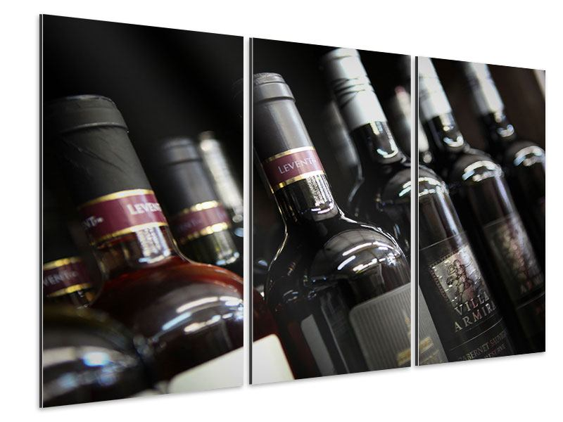 Aluminiumbild 3-teilig Flaschenweine