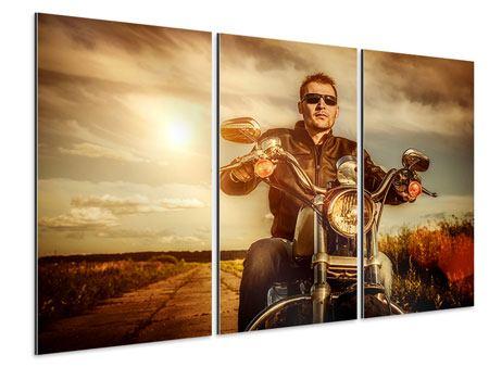 Aluminiumbild 3-teilig Der Coole Biker