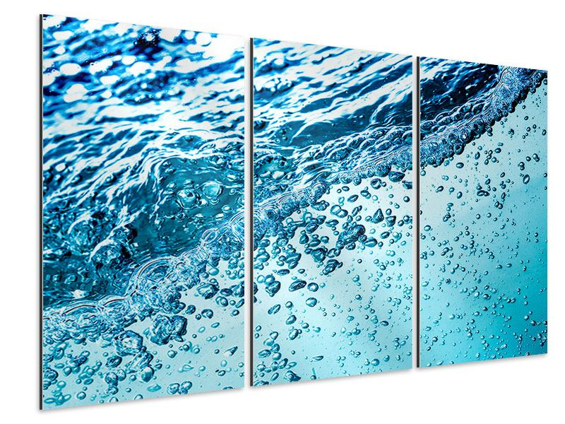 Aluminiumbild 3-teilig Wasser in Bewegung