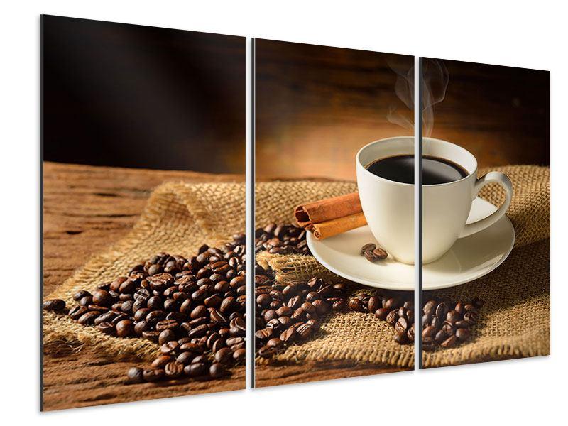 Aluminiumbild 3-teilig Kaffeepause