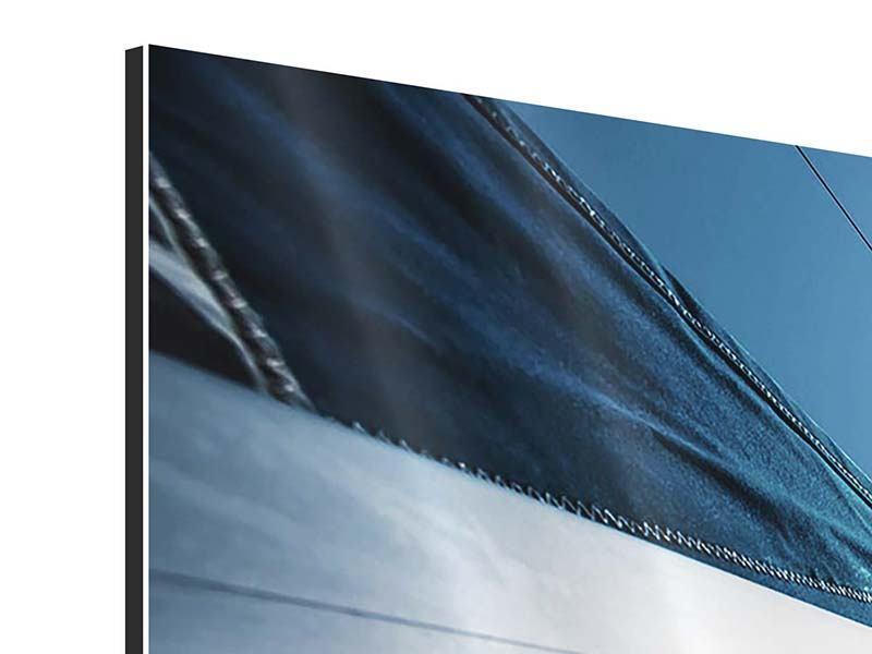 Aluminiumbild 3-teilig Segelschiff Close Up