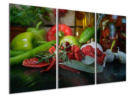Aluminiumbild 3-teilig Mediterranes Gemüse