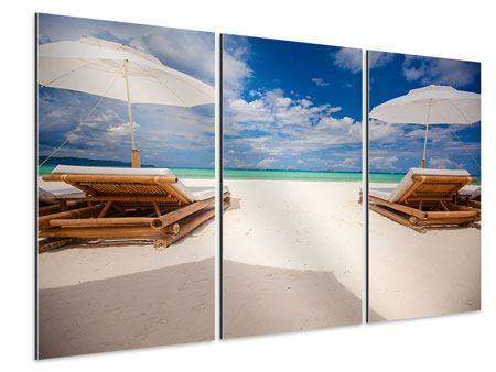 Aluminiumbild 3-teilig Liegen am Strand