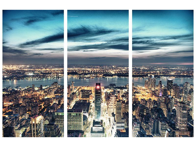 Aluminiumbild 3-teilig Skyline Manhattan Citylights