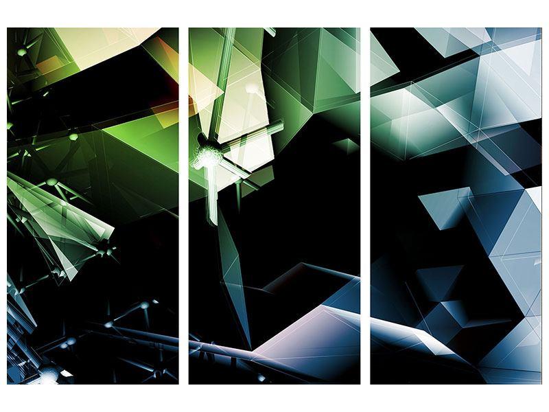 Aluminiumbild 3-teilig 3D-Polygon