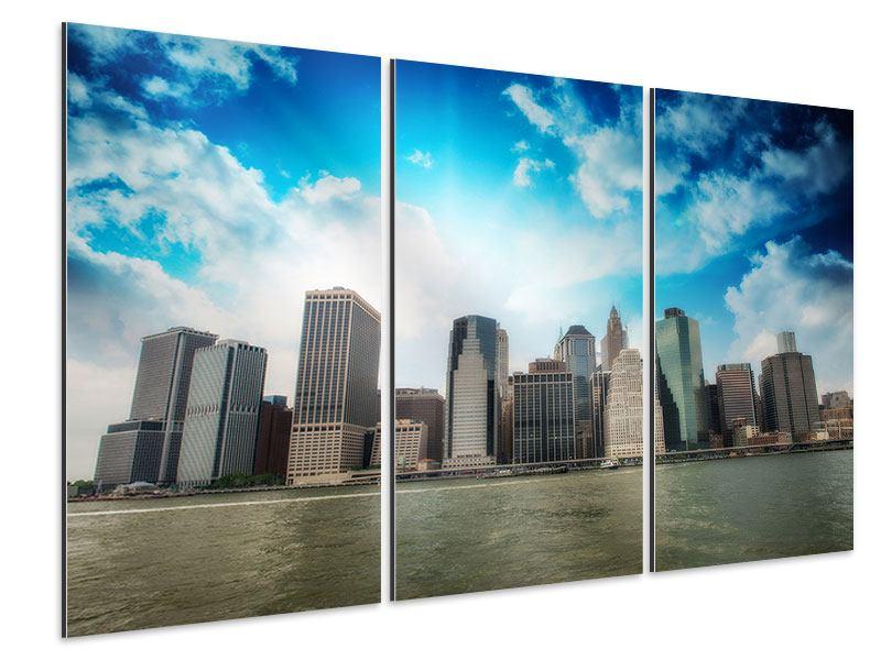 Aluminiumbild 3-teilig Skyline Lower Manhattan