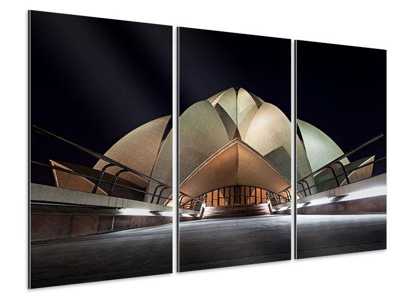 Aluminiumbild 3-teilig Der Lotus-Tempel
