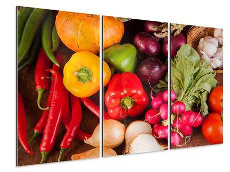 Aluminiumbild 3-teilig Gemüsefrische
