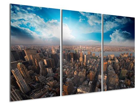 Aluminiumbild 3-teilig Skyline Über den Dächern von Manhattan