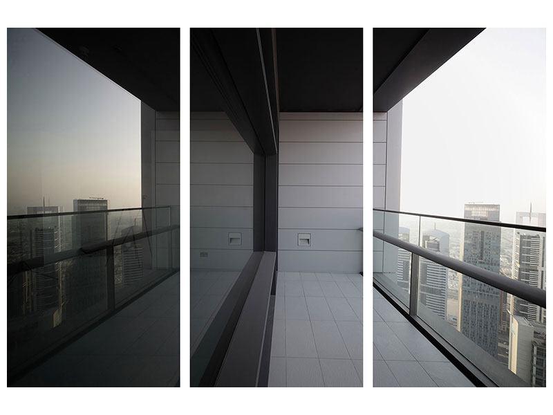 Aluminiumbild 3-teilig Balkon in Dubai