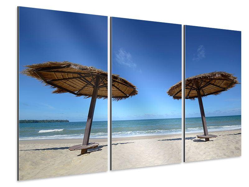 Aluminiumbild 3-teilig Umbrellas