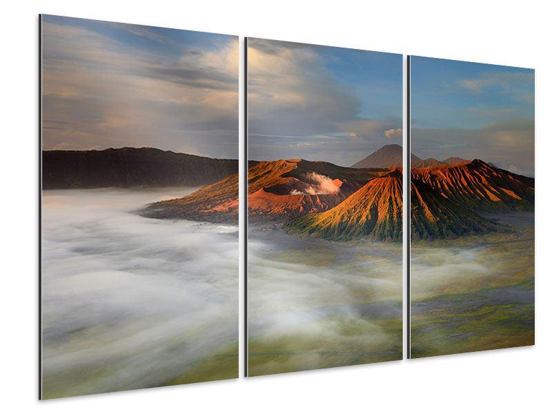 Aluminiumbild 3-teilig Der Bromo Vulkan