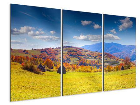 Aluminiumbild 3-teilig Herbstliche Berglandschaft