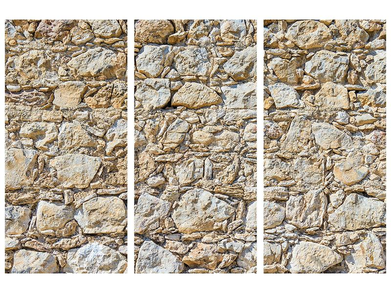 Aluminiumbild 3-teilig Sandsteinmauer