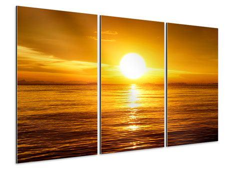 Aluminiumbild 3-teilig Traumhafter Sonnenuntergang
