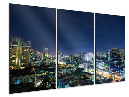 Aluminiumbild 3-teilig Skyline Nachts in Bangkok