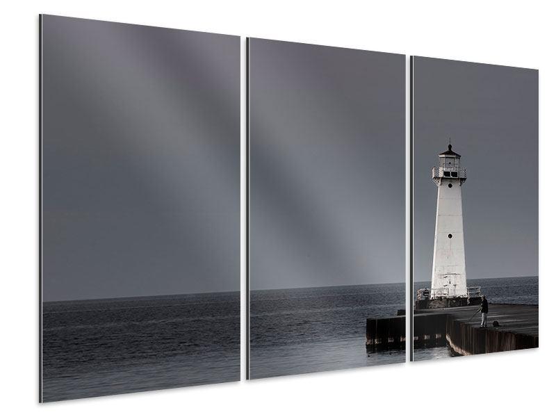 Aluminiumbild 3-teilig Der Leuchtturm bei Nacht