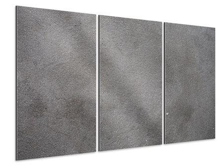Aluminiumbild 3-teilig Beton in Dunkelgrau