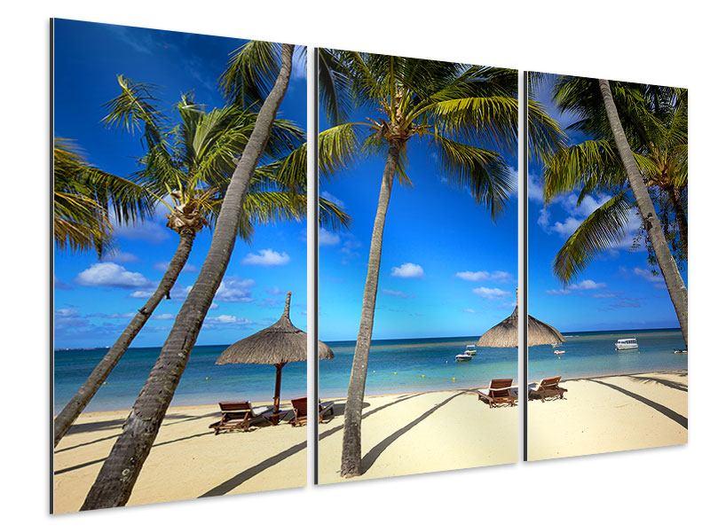 Aluminiumbild 3-teilig Mauritius