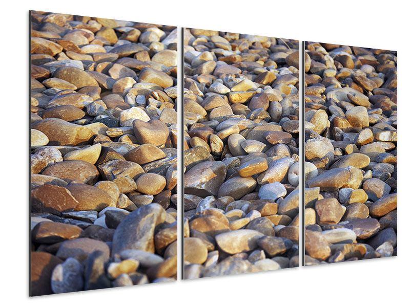Aluminiumbild 3-teilig Strandsteine