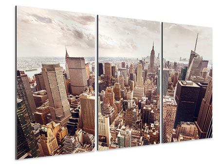 3 Piece Aluminium Print Skyline Over The Roofs Of Manhattan
