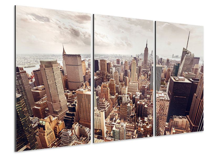 Aluminiumbild 3-teilig Skyline Über den Dächern Manhattans