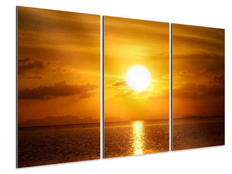 Aluminiumbild 3-teilig Sonnenuntergang See