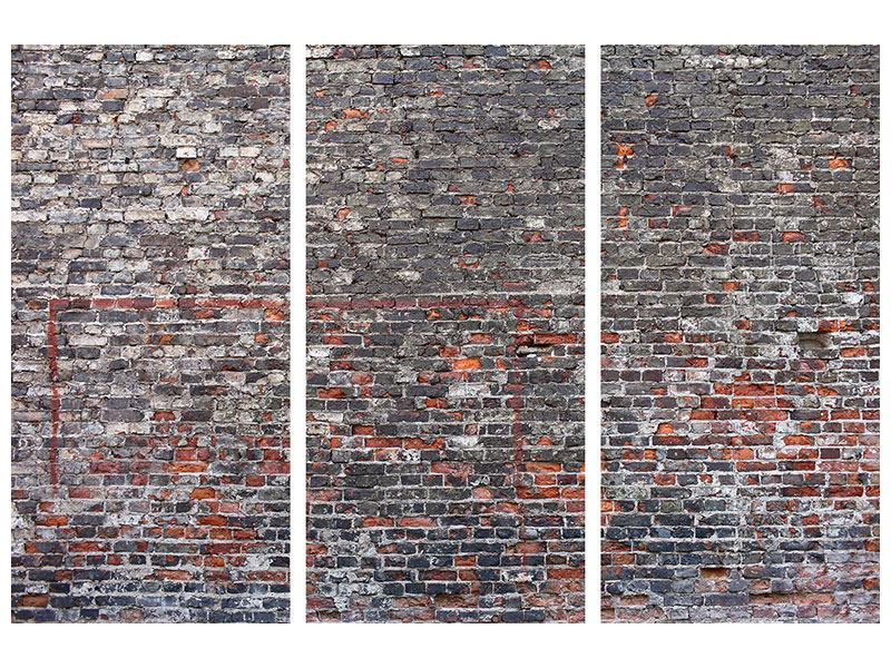Aluminiumbild 3-teilig Alte Backsteine